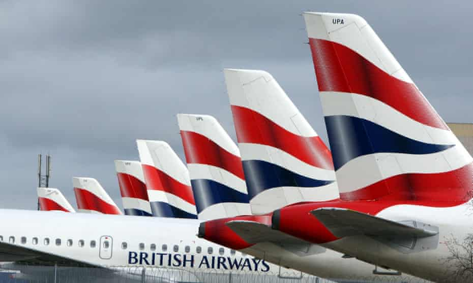 BA planes lined up at Heathrow Terminal 5