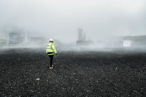 An operator in Hellisheiði power station in Hengill, Iceland 's largest geothermal plant and the world's third largest.