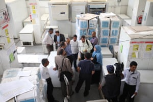 """Julien Harneis, Unicef's representative in Yemen, <a href=""""http://www.trust.org/item/20150527122405-zcs9z/"""">visits a vaccine storage facility</a> in Sana'a. Yemen has enough polio vaccines for nearly 5 million children under five and measles vaccines for 250,000 children under 15 in conflict-affected areas. But these could be damaged if fuel shortages cause shutdowns in the cold rooms where they are stored. Worth $30 million, the vaccines need constant refrigeration"""