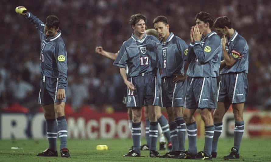 Darren Anderton (second from right) reacts to England's penalty shootout defeat to Germany at Euro 96.