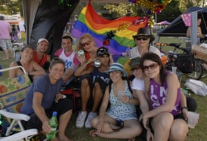 Cayte Latta and friends at Sydney Gay and Lesbian Mardi Gras Fair Day, 2007.