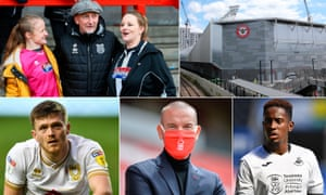 Clockwise from top left: Ian Holloway was a popular appointment with the Grimsby Town fans in January, Brentford's shiny new home, Jamal Lowe shows off Swansea City's new sponsors, Sabri Lamouchi is staying at Nottingham Forest, while Rhys Healey is leaving League One for Ligue 2.