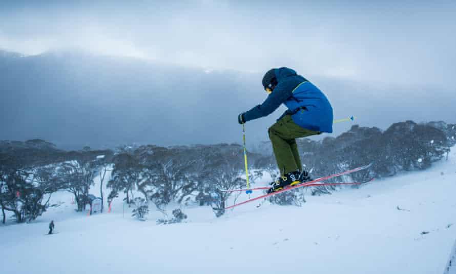A skier in mid-air at Thredbo NSW