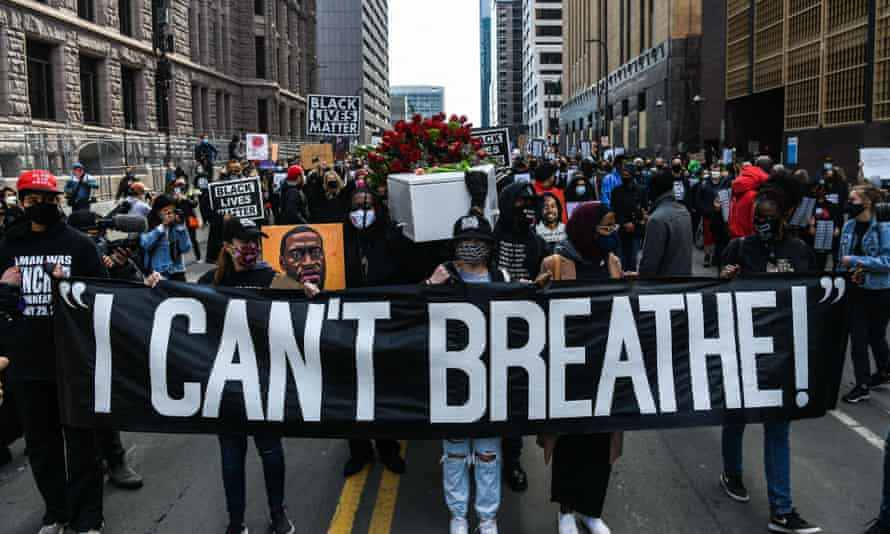 Silent March for Justice in front of the Hennepin County Government Center on 7 March 2021, where the trial of Derek Chauvin is underway.