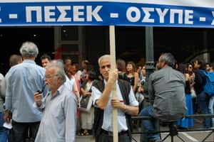 28 May 2015, Athens, Attica, Greece --- May 28, 2015 - Athens, GREECE - Civil servants protest outside the Ministry of Labour, claiming the sustainability of social security funds. (Credit Image: © Aristidis Vafeiadakis/ZUMA Wire) --- Image by © Aristidis Vafeiadakis/ZUMA Press/Corbis