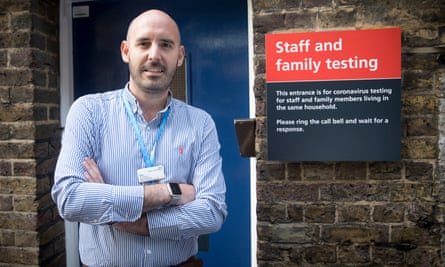 Manager Ian Bateman outside Mint Cottage, where staff and patients who have upcoming medical procedures can be tested for Covid-19. St Mary's Hospital in Paddington, west London.