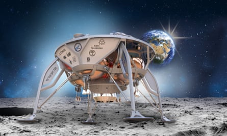 An artist's impression of the SpaceIL lander touching down on the Moon