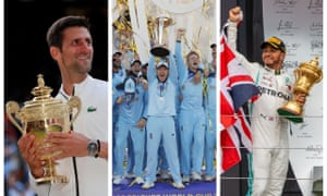 Golden wonders: Novak Djokovic, the England cricket team and Lewis Hamilton with their respective trophies on a remarkable day of sport.