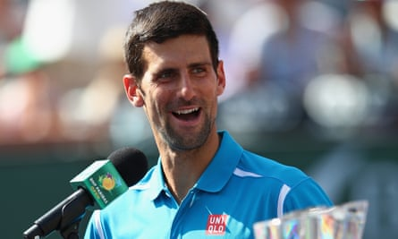 Novak Djokovic talks to the crowd after his win over Milos Roanic in the men's final at Indian Wells, California.