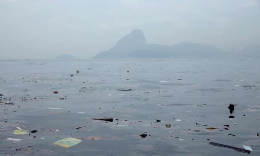 Pollution floats in Guanabara Bay, site of sailing events for the Rio 2016 Olympic Games.