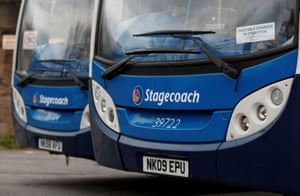 Parked busses are seen at a Stagecoach depot in South Shields.