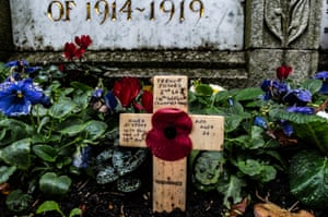 A cross in Leominster UK for a soldier who died aged 22
