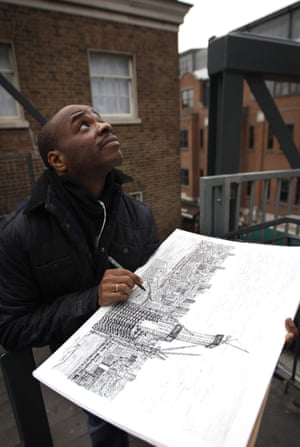 Stephen Wiltshire drawing London skyline
