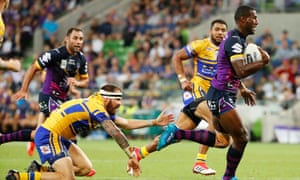 Melbourne's Suliasi Vunivalu runs clear to score a try during the NRL champions' victory over Leeds Rhinos in the World Club Challenge match at AAMI Park