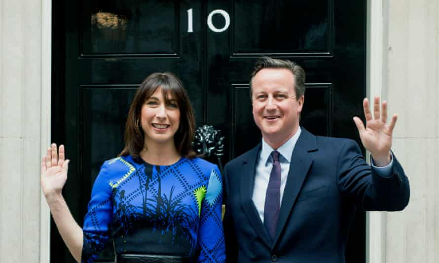 David Cameron returns to No 10 as prime minister on 8 May with his wife, Samantha, after the Conservative party's election victory.