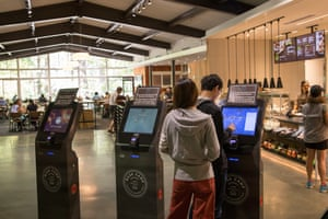 Inside Basecamp Eatery at Yosemite, which has new hi-tech touch screens.