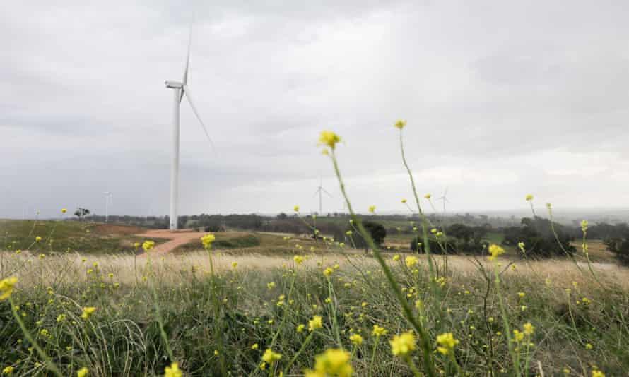 Bodangora wind farm owned by Infigen Energy, in the district of Bodangora near Wellington, New South Wales, Australia