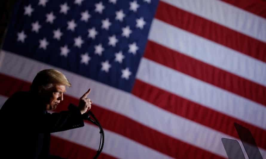 Trump addresses a campaign rally in Columbia, Missouri on 1 November.