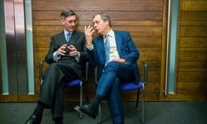 Nigel Farage and Jacob Rees-Mogg at the London rally.