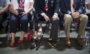 Veterans of Foreign Wars members listen as Trump speaks in Charlotte, North Carolina in July 2016.