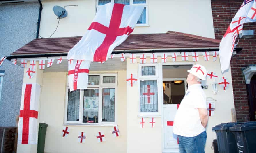 A house decorated with St George's flags