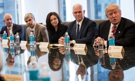 Jeff Bezos of Amazon, Larry Page of Google and Sheryl Sandberg of Facebook meet Mike Pence and Donald Trump in December 2016.