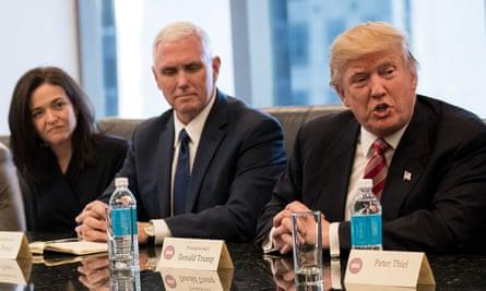 Sandberg with Mike Pence and Donald Trump