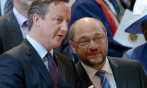David Cameron with Martin Schulz at a service marking the 200th anniversary of the Battle of Waterloo at St Paul's Cathedral.