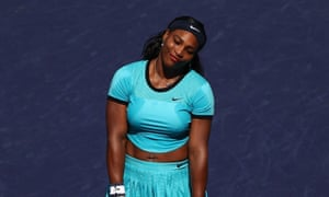 Serena Williams cuts a frustrated figure as she falls behind in the second set.