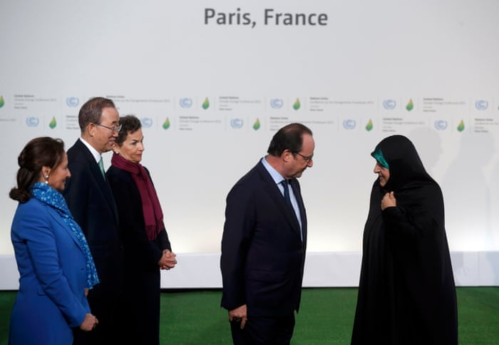 President Hollande welcomes Iran's vice-president Iran Ebtekar to COP21 opening day sesssion in Le Bourget, Paris