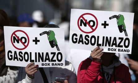 Protestors demonstrate against an increase in the price of petrol in Mexico on 7 January 2017.