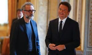 The Osteria Francescana chef-owner Massimo Bottura (left) and the Italian prime minister, Matteo Renzi.