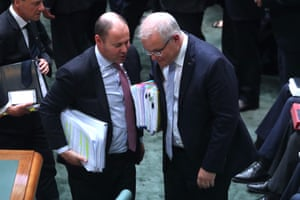 The prime minister Scott Morrison and Treasurer Josh Frydenberg during question time in the House.