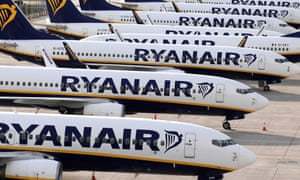 Ryanair planes parked in a stand at Stansted airport