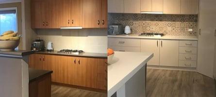 Before and after benchtops were replaced at the Collins family home in Canberra.