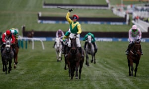 Sizing John, under the ride of Robbie Power, wins the Cheltenham Gold Cup.