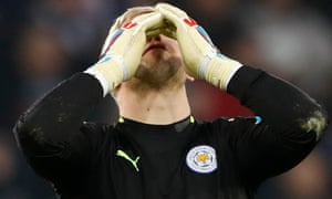 Leicester City's Kasper Schmeichel looks dejectedduring the defeat to Manchester United.