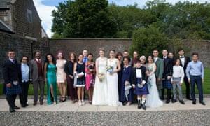 Mozaffar Saberi, Rezvan Habibimarand, Navid Saberi part of a group wedding photo