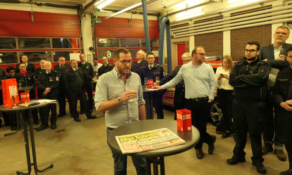 Julian Reichelt, editor-in-chief of Bild, visiting a fire station near Düsseldorf.