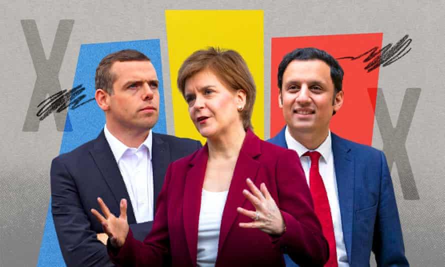 Douglas Ross, Nicola Sturgeon and Anas Sarwar
