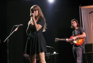 Longstreth onstage with Amber Coffman, 2012.