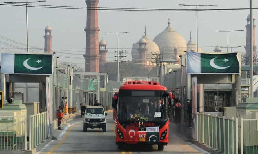 A metrobus in Lahore