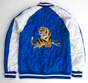Tiger motif silk bomber jacket in blue and white