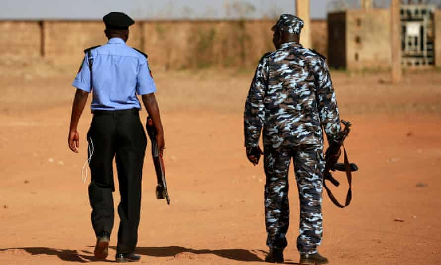Police on patrol after an attack by bandits in north-west Nigeria in 2020