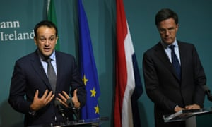 Ireland's Taoiseach, Leo Varadkar and Mark Rutte, Prime Minister of the Netherlands, hold a news conference at Government Buildings in Dublin, Ireland December 6, 2017. REUTERS/Clodagh Kilcoyne