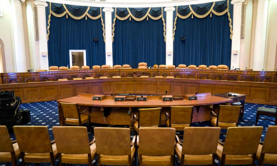 The committee room in the Longworth House office building that will host the House intelligence committee's impeachment hearings against Trump on Capitol Hill Wednesday.