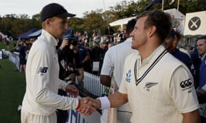 England captain Joe Root shakes the hand of New Zealand's Neil Wagner at the end of play on Tuesday.