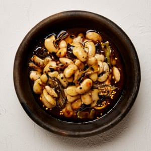 Yotam Ottolenghi's butter beans in smoked cascabel oil.