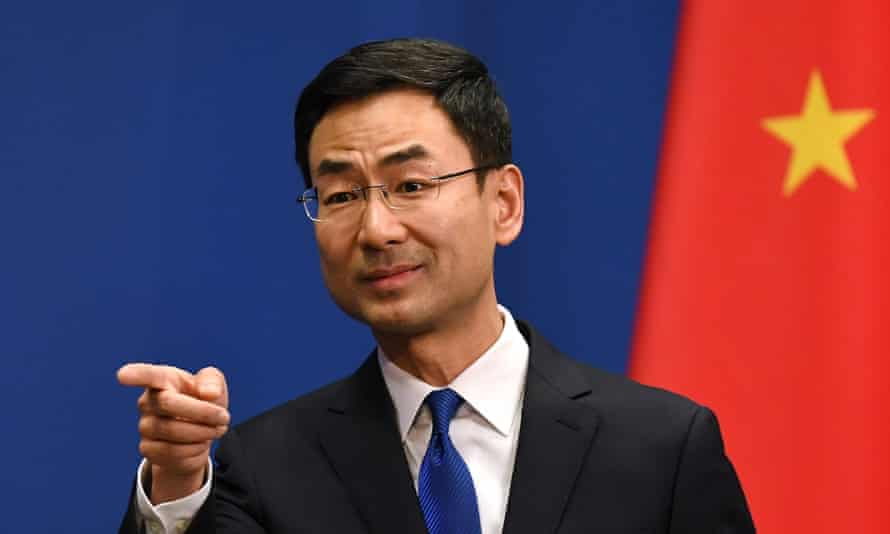 Chinese foreign ministry spokesman Geng Shuang after the expulsion of American journalists in March 2020.