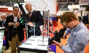 Visitors inspect weapons at the last DSEI fair, held at the ExCeL centre in 2015.